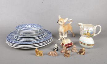A group of ceramic's. Beswick, Wade, Sadler etc