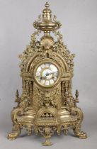 A Large Decorative Brass French Mantle Clock. Chimes on the Half Hour and on the Hour. Overall
