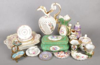 A collection of Various Ceramics. To include a Reticulated Pitcher Jug, Lidded Tureen and Hand