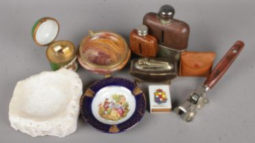A Collection of Smoking and Drinking Items. To include: Two Hip Flasks, Cigarette Lighters and Ash