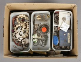 A Box of Mainly Costume Jewellery, to include some Small Silver Curios (Rings, Brooches and