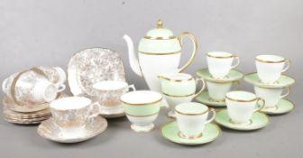 Two part tea sets. Wedgwood & Colclough. teapot, cups/saucers, milk jug, sugar bowl etc