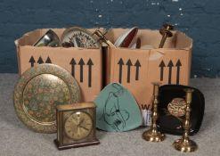 Two boxes of miscellaneous. Brass candlesticks, ceramic vases & bowls, Metamec mantle clock etc