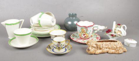 A group of miscellaneous. Wedgwood & Co tea set cups/saucers, milk jug, side plates, Poole vase,