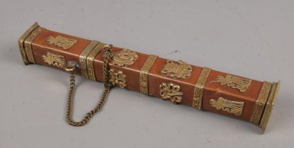 An oriental copper and brass incense holder of square form.