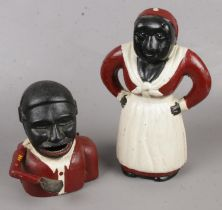 Two Novelty Cast Iron Money Boxes, depicting Black Figures, one with Moving Arm.