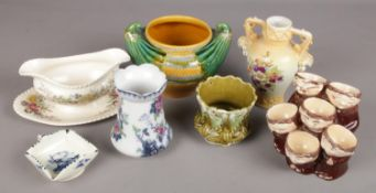 A Group of Ceramics. To include a Weiss Monk Multiple Egg Cup and a Blue and White Keeling and Co
