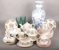 A Collection of Mainly Ceramics. To Include a Comprehensive Staffordshire Chelsea Dinner Service,