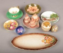 A quantity of mostly ceramics. Including Moorcroft dish, Poole hunting scene plate, paperweight,