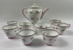 A SHELLEY part coffee service to include 6 cups, 1 coffee pot plus sugar bowl and milk jug