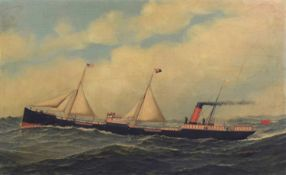 "Maritime School (19th century) The Sail Steam Ship ""Delaware"" on Passage"