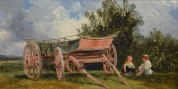 George Cole (British 1810-1883) Rural scene with hay cart and two children