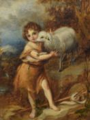 Lea (19th century) Portrait of a boy with a lamb