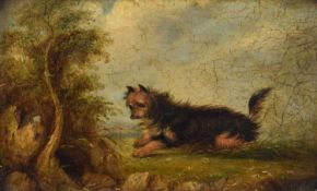 Circle of George Armfield (British 1808-1893) Rural landscape with a terrier