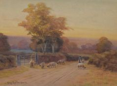 George Oyston (British 1861-1937) Rural lane with figures and sheep