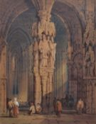 Attributed to Samuel Prout (1783-1852) Cathedral interior with figures