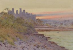 "John Abernethy Lynas-Gray (British 1869-1940) ""Eventide, Conwy Castle, North Wales"""