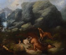 Circle of George Armfield (British 1808-1893) Rocky outcrop with two hounds and a dead stag