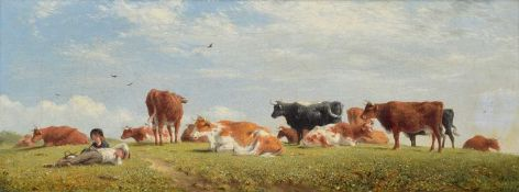 John Thorpe R.A. (1834-1873) Rural view with children and cattle