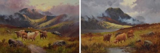 C.W. Oswald (19th/20th century) Mountainous scenes with highland cattle