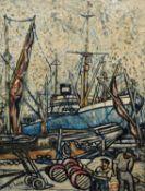 George Hann (British 1900-1979) Dockyard scene