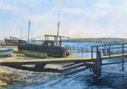 Frank Shenton, 20th century Estuary scene with boats drawn up on the shore