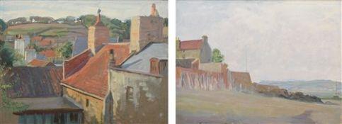 "John Bulloch Souter (Scottish 1890-1972) ""Rooftops, St. Aubin, Jersey"" and another coastal scene"