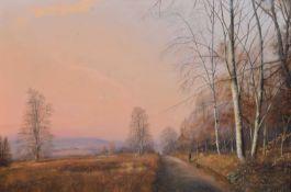 "Michael Beddows (British 1931-2005) ""Shropshire Lane near Bridgnorth, looking towards Brown Clee"""