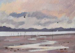 James Orr (Scottish 1931-2019) Estuary scene with a sailing boat