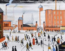 """John Hanley (British 1947-) """"Back to Work"""" after L.S. Lowry"""