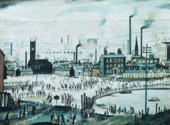 """L.S. Lowry R.A. (British 1887-1976) """"An Industrial Scene"""""""