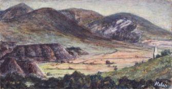 Helen Clapcott (British 1952-) Rural view with church