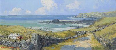 """Charles Wyatt Warren (British 1908-1983) """"St Cwyfan's Church, Llangwyfan, Anglesey"""""""