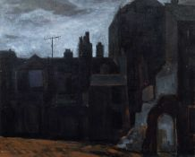 """Norman C. Jaques (British 1922-2014) """"Back of Oxford Road, Manchester"""""""