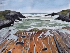 """Nicholas Ferenczy (20th/21st century) """"Rough Sea, Stony Cove, Anglesey"""""""