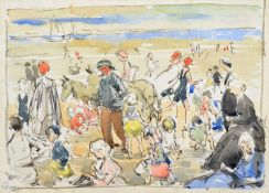 Richard Edward Clarke (British 1878-1954) Beach scene with donkeys