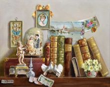 Deborah Jones (British 1921-2012) Still life with books