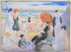 Richard Edward Clarke (British 1878-1954) Beach scene with bathers
