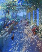 Laurent Parcelier (French 1962-) Sun dappled terrace with cats