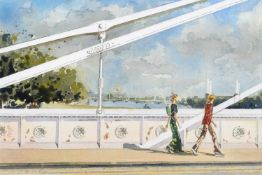"Nicholas Ferenczy (20th/21st century) ""Leaving by the Albert Bridge"""
