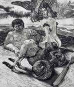 Fritz Aigner (Austrian 1930-2005) Surreal beach scene