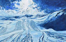 "Liza McCormick (20th/21st century) ""Tracks Through Powda with the Sun behind Cariboos, Canada"""