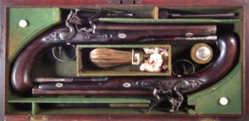 Matched pair of Flintlock dueling pistols by Wogdon and Barton London.