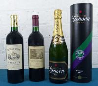 3 Bottles Mixed Lot of Fine mature Classified and Bourgeois Claret together with Lanson Champagne