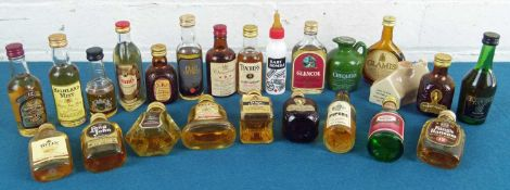 24 Miniature Bottles Mixed Lot mainly Scotch Whisky from 1970's to 1990's