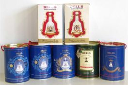 Seven Bells commemorative boxed 75cl/70ml decanters and whiskey