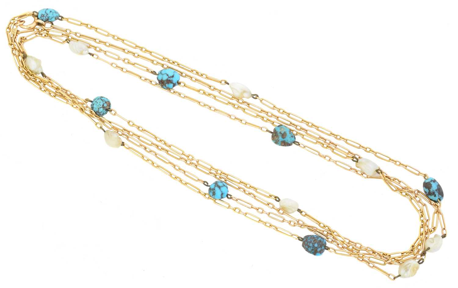 An early 20th century turquoise and pearl longuard chain,