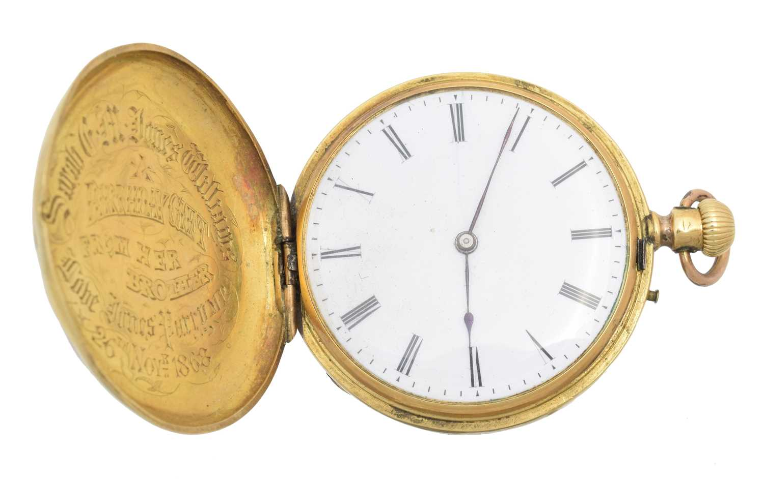A late 19th century 18ct gold enamel hunter pocket watch, - Image 3 of 5