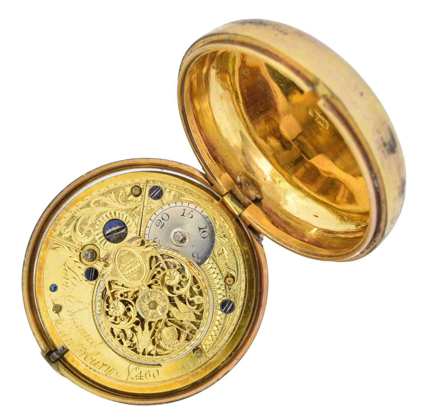 A Georgian gold plated pair cased pocket watch, - Image 3 of 4