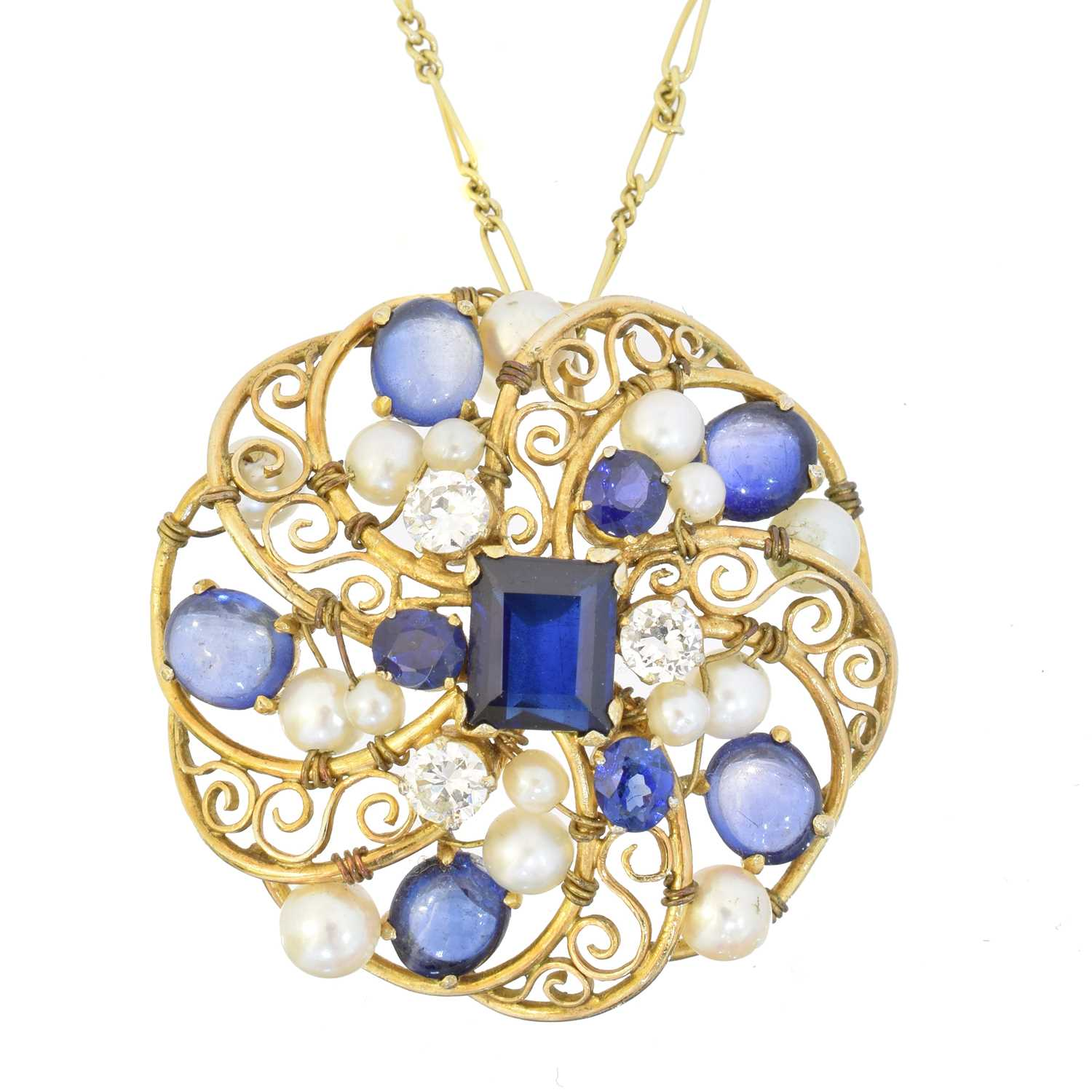 A sapphire, diamond and cultured pearl pendant,